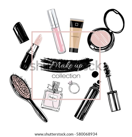 Make up set. Vector hand drawn illustrations. Isolated objects.