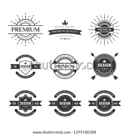 Make your labels or Logotypes concept set. Retro typography, badges, logos, borders, ribbons, emblem, stamp, and Objects. Vector design templates - Vector