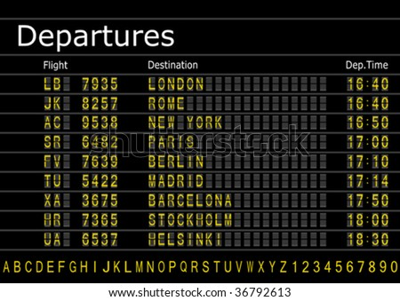 Make your own Airport Arrivals or Departures Board with spare text and numbers vector.