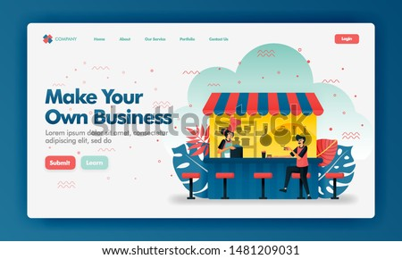 Make your own business vector design illustration with flat cartoon style. Customers buying meal at food counter. Can use for landing page, Website, UI UX, Web, Mobile App, Poster, Banner, Ads, Seo