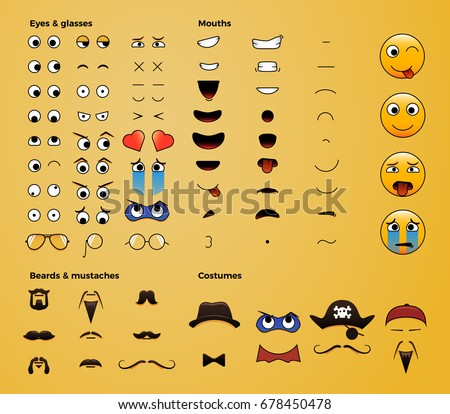 Make your own emoji smiley. Vector eps file easily editable for you to make thousands of your own variations of emoticons. Eyes, mouths, beards, accessories, costumes etc.