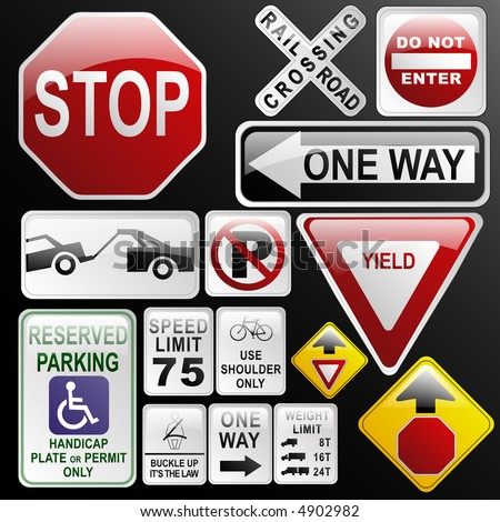 Warning Road Signs. danger road signs in
