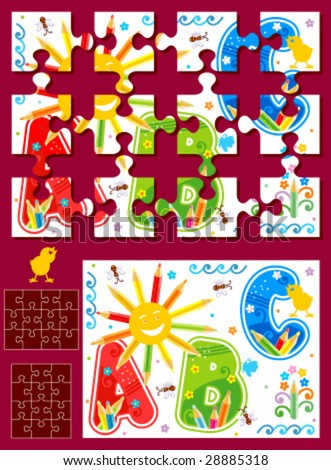 Make your own vector jigsaw puzzle kit - full page illustration, cutting guidelines, ready made pieces - or use as design elements ( for high res JPEG or TIFF see image 28885321 )  - stock vector