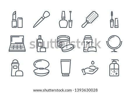 Makeup and Cosmetics related line icon set. Beauty linear icons. Skin and body care and  outline vector signs and symbols collection.