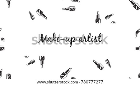 Makeup Artist Banner Business Card Concept Beauty Set For Make Up Lipstick