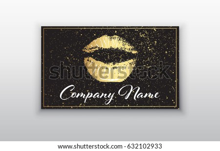 Makeup artist business card. Business cards template with gold lips print and black brush