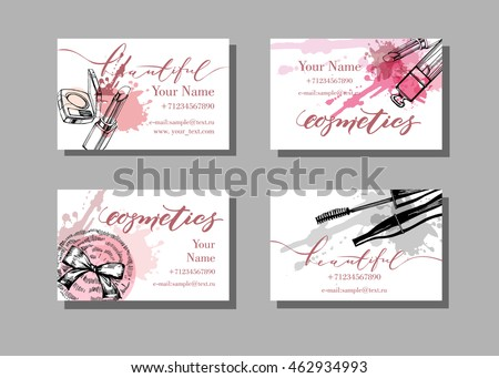 Makeup artist business card template download free vector art makeup artist business card vector template with makeup items pattern brush pencil cheaphphosting Images
