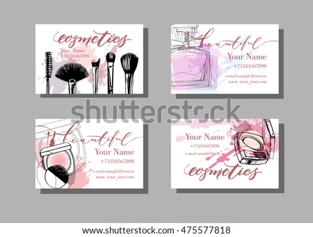 Makeup artist business card template download free vector art makeup artist business card vector template with makeup items pattern fashion and beauty background flashek