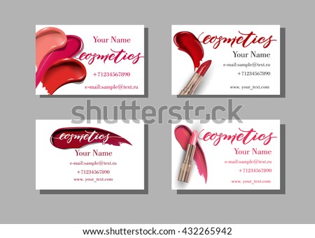 Beautiful business card design download free vector art stock makeup artist business card vector template with makeup items pattern lipstick fashion and reheart Gallery