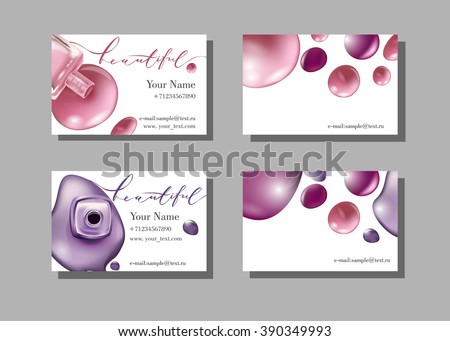 Makeup artist business card. Vector template with makeup items pattern - nail Polish. Fashion and beauty background. Template Vector.