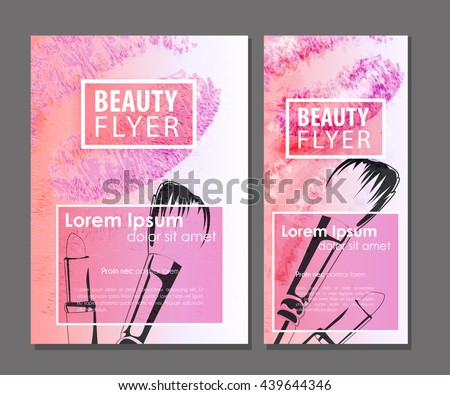 makeup artist business card vector template with watercolor lips lipstick and brush for beauty