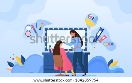 Makeup artist doing makeup for woman in beauty salon. Professional beautician and celebrity in armchair. Modern interior of beauty salon. Cartoon flat vector illustration