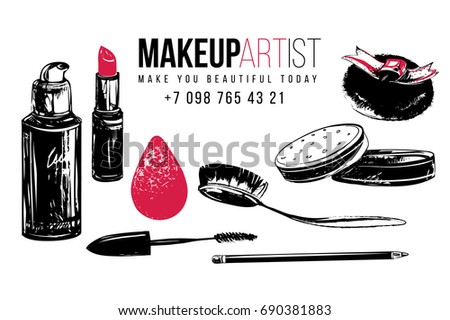 Makeup artist t-shirt design and business card concept. Hand drawn graphic vector fashion illustration in watercolor style. Black art on white background