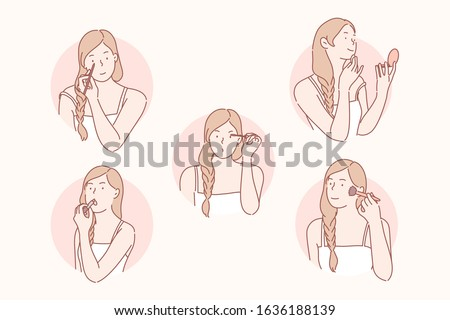 Makeup, beauty, cosmetology set concept. Young woman prepares for date and wants to look beautiful. Girl does makeup and uses cosmetics eyeliner, mascara, lipstick, powder, sponge. Simple flat vector
