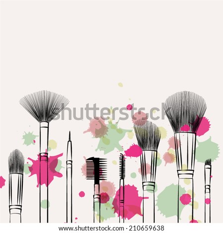 Makeup brushes hand drawn vector set.