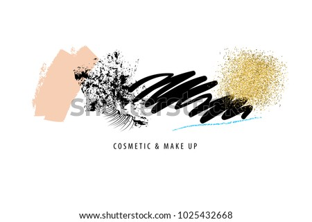 Makeup, cosmetic brush strokes, traces, smears over white. Mascara, tone, golden sparkles