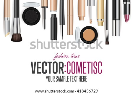 Wall mural Makeup cosmetics banner. Realistic luxury accessory and equipment. Beauty, fashion look, visage poster. Decorative makeup cosmetics product vector illustration. Beautician store or shop presentation