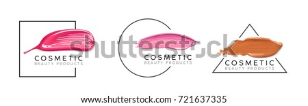 Makeup design template with place for text. Cosmetic Logo concept of liquid foundation set, nail polish and lipstick smear strokes