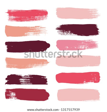 Makeup strokes, Beauty and cosmetic nude brush stains vector background. smear make up lines collection, Set of lipstick swatches, texture isolated on white. paint line texture.