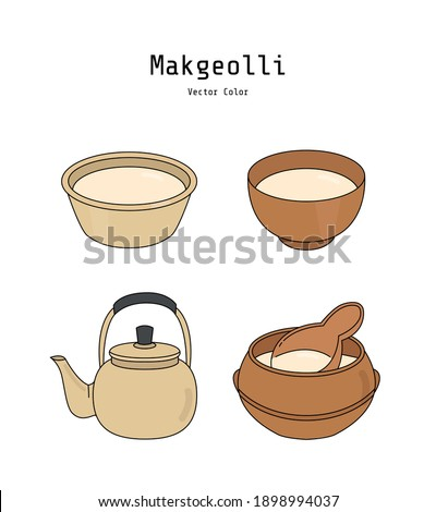 Makgeolli is a Korean alcoholic beverage. The milky, off-white and lightly sparkling rice wine has a slight viscosity that tastes slightly sweet, tangy, bitter, and astringent.