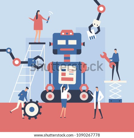 Making a robot - flat design style illustration. Metaphorical composition with cute characters, workers fixing a big mechanism. Teamwork, service and settings concept