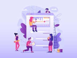 Making client feedback survey concept in flat design. Team of people creating test application form or questionnaire for marketing research. Teamwork over user experience exploration UI illustration.