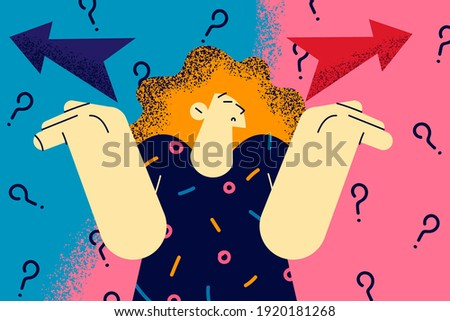 Making decision, doubt, different ways concept. Frustrated woman spreading outstretched arms trying to choose right or left direction and right way path to go feeling uncertain illustration