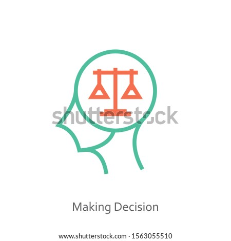 Making decision icon concept with weight scale balance in the drawing of human brain isolated on green background, vector and illustration.