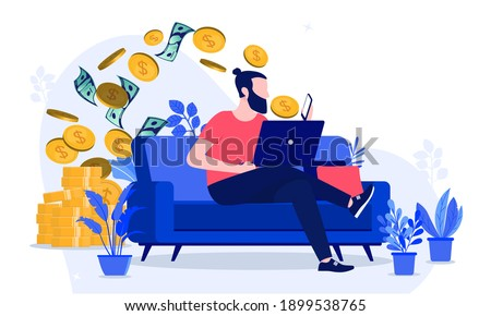 Making money from home - Man working online to earn cash, sitting on sofa with smartphone and laptop. Vector illustration. Foto stock ©