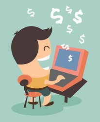 Making money from online activity. Flat vector illustration