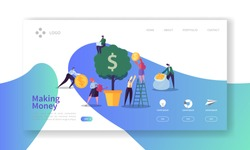 Making Money Landing Page. Business Investment Banner with Flat People Characters and Money Tree Website Template. Easy Edit and Customize. Vector illustration