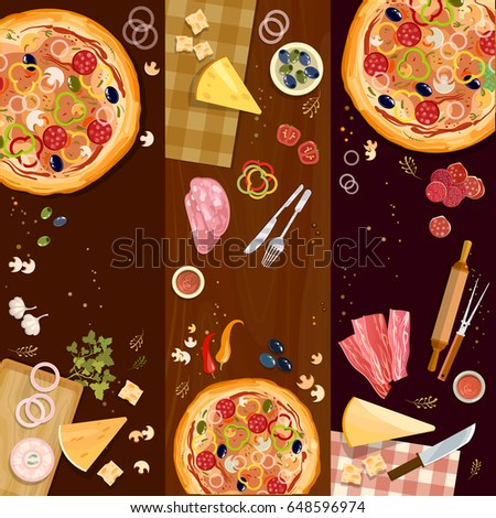 Making pizza, pizza on wooden table top view banner, fresh ingredients for pizza vector set
