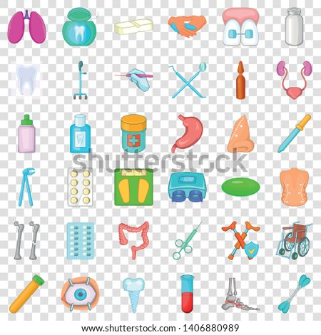 Malady icons set. Cartoon style of 36 malady vector icons for web for any design Photo stock ©