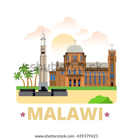 malawi country flat cartoon