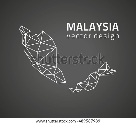 Malaysia black vector contour triangle map