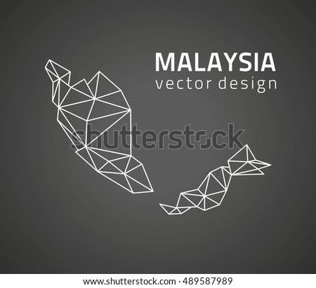 Malaysia black vector contour triangle map