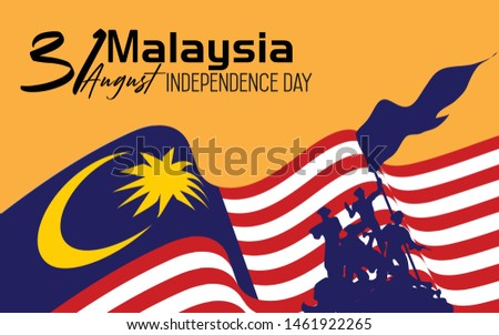 Malaysia happy independence day greeting card, banner, vector illustration. Malaysian national day 31st of August