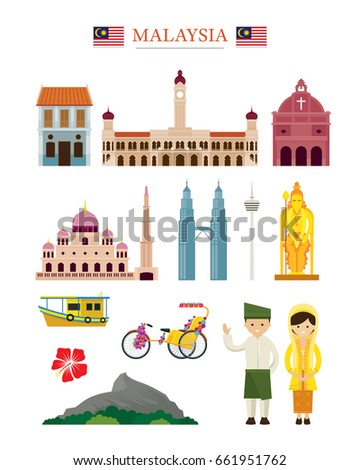 Malaysia Landmarks Architecture Building Object Set, Famous Place, Travel and Tourist Attraction