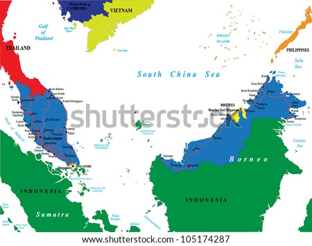 Free state map of southeast asia download free vector art stock malaysia map gumiabroncs Gallery