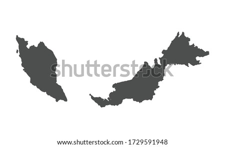 Malaysia vector map silhouette isolated on white background. Foto stock ©