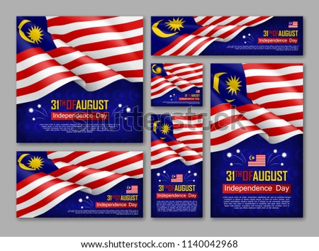 Malaysian Independence day celebration posters set. 31th of August felicitation greeting vector illustration. Realistic backgrounds with malaysian flag. Malaysian national patriotic holiday.