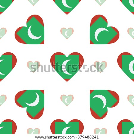 maldives flag heart seamless