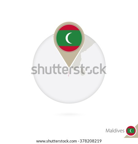 maldives map and flag in circle