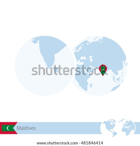 maldives on world globe with