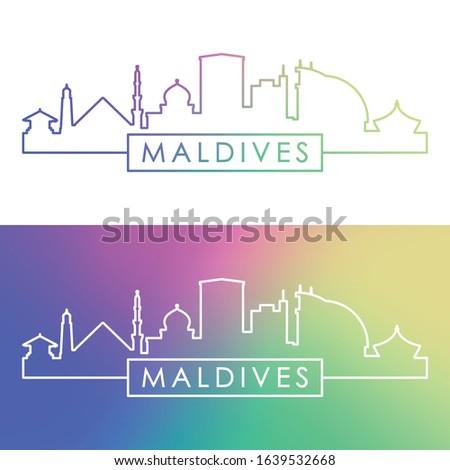 Maldives skyline. Colorful linear style. Editable vector file.