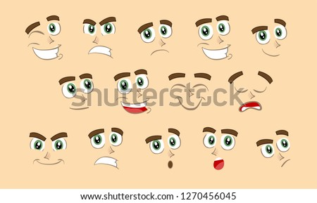 Male abstract cartoon face expression variations, emotions collection set, vector illustration