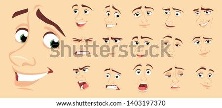 Male abstract cartoon face expression variations, emotions collection set #1, vector illustration