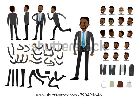 Male african american  businessman constructor,human template avatars or characters,isolated on white background,flat vector illustration