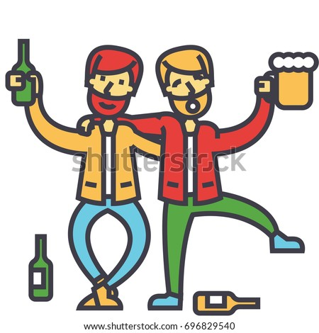 Male alcoholism, drunk people, drunken party, men drinking alchocol concept. Line vector icon. Editable stroke. Flat linear illustration isolated on white background Сток-фото ©