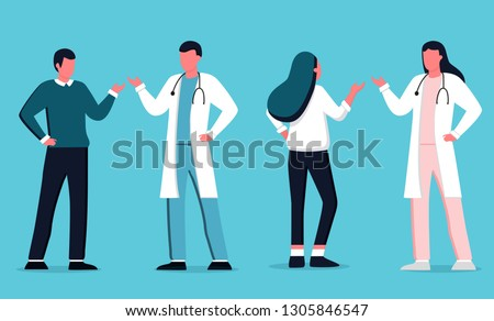 Male and feamle doctor talking with patients. Healthcare services, Ask a doctor. Therapist in uniform with stethoscope. Gynecologist  and urologist, medical team concept. Medical clinic staff.